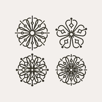 Set of korean traditional flower pattern