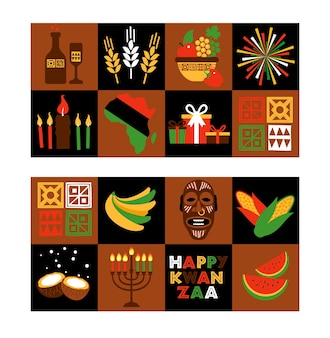 Set for kwanzaa with traditional colored and candles representing the seven principles