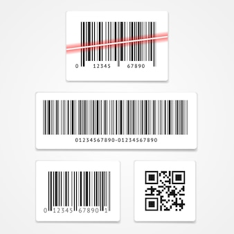 Set label barcode and qr code isolated
