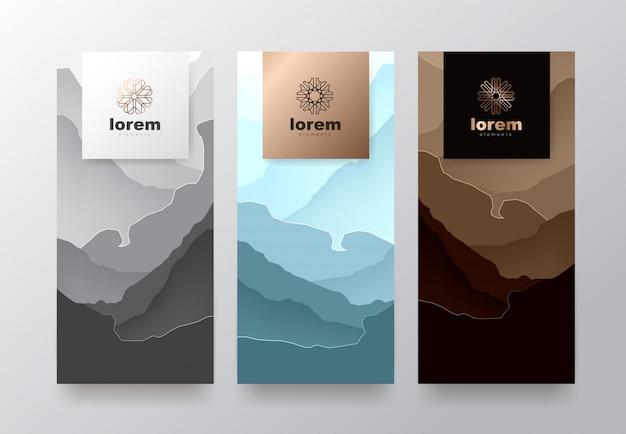 Установить шаблоны этикеток с абстрактной текстурой для предметов роскоши.