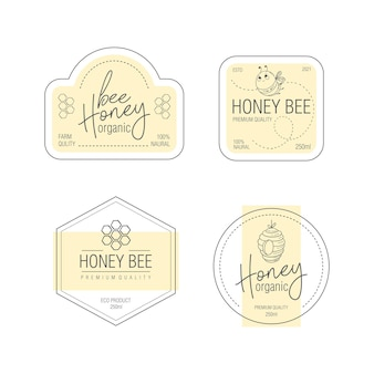 Set of labels for bee honey product packaging design templates