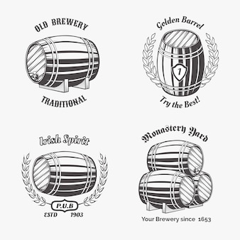 Set of labels of beer house.