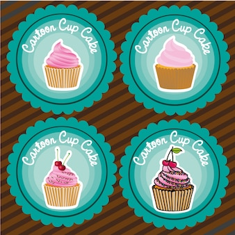 Set of labels of cupcakes lines background vector illustration