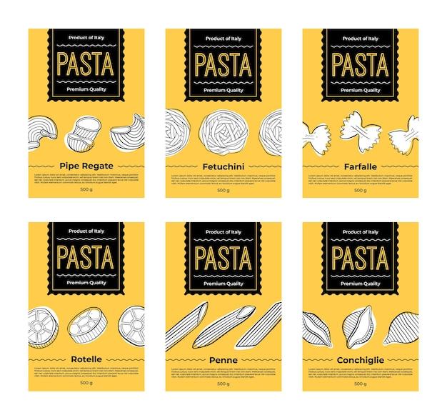 Set of labels design for packaging of pasta