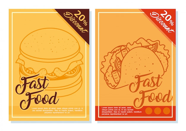 Set labels of fast food, with twenty percent discount