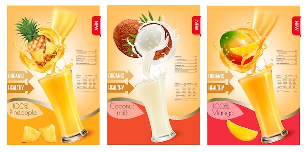 Set of labels of of fruit in juice splashes. pineapple, coconut, mango. .