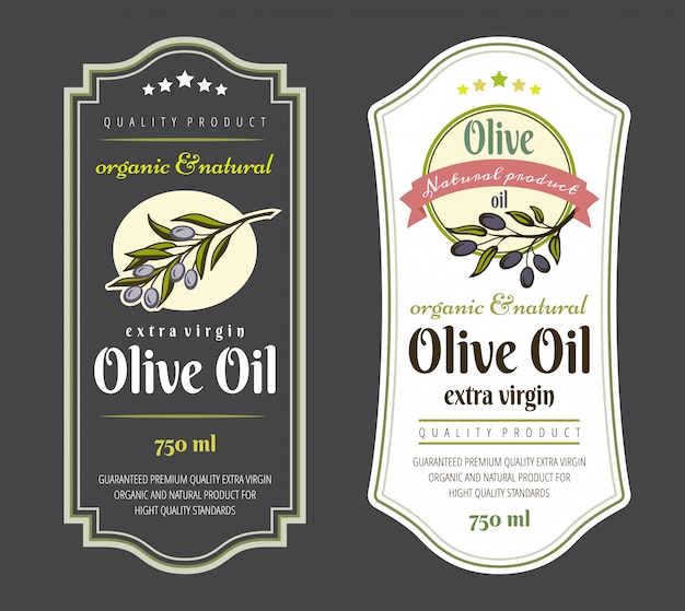 Set of labels for olive oils.