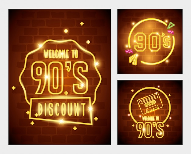 Set of labels retro style neon light