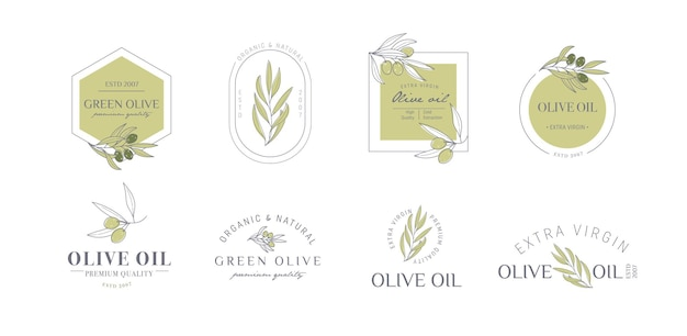 Set of labels stamps tags for olive oil soap cosmetics spa salon