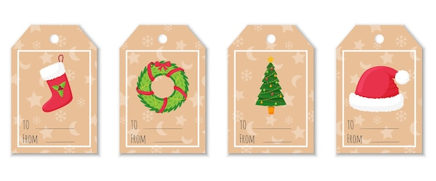 A set of labels and tags for gifts with christmas elements. christmas stocking, fur hat, decorated christmas tree, wreath.cute illustrations in a flat style on a craft background.