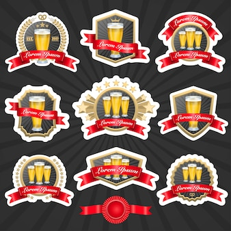 Set of labels with glasses full of beer and decorative ribbons vector illustation