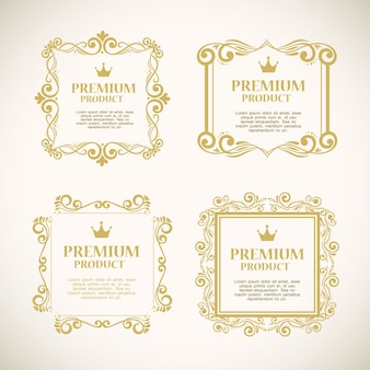 Set labels with gold decorative frames