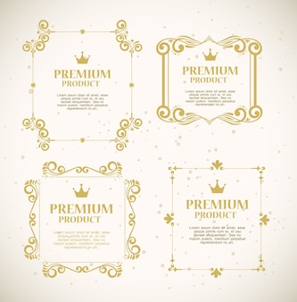 Set labels with gold luxury decorative frames