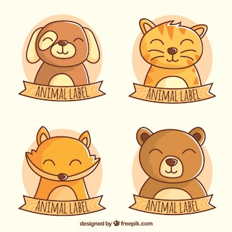 Set of labels with nice animals