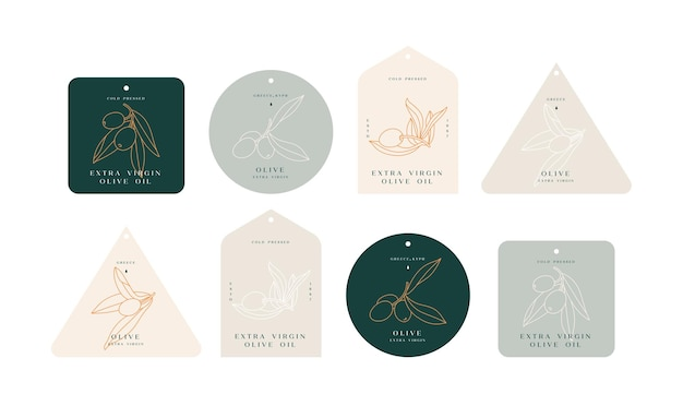 Set of labels with olive branch simple linear style