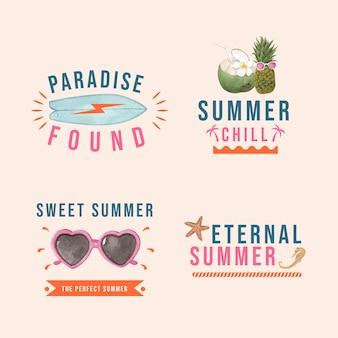 Set di etichette con vibrazioni estive