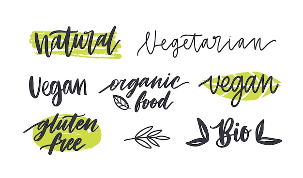Set of labels with written inscriptions for gluten free, vegetarian, organic products, natural healthy food.