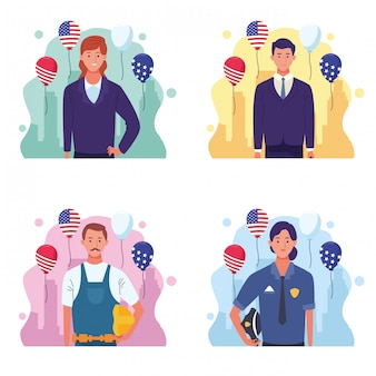 Set of labor day usa celebration cartoons