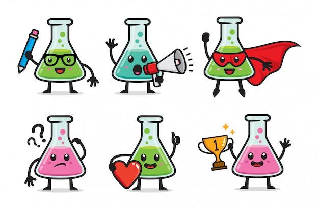 Set of laboratory bottle character