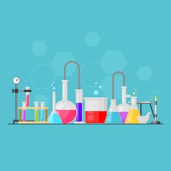 Set of laboratory equipment glassware vector