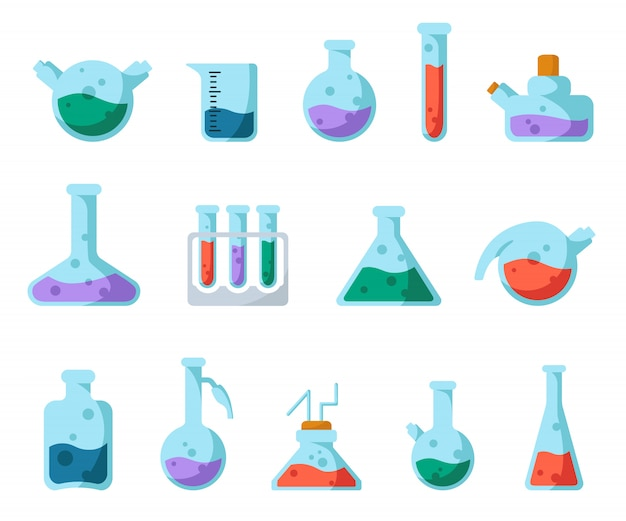 Set of laboratory flasks, measuring cup and test tubes for diagnosis, analysis, scientific experiment