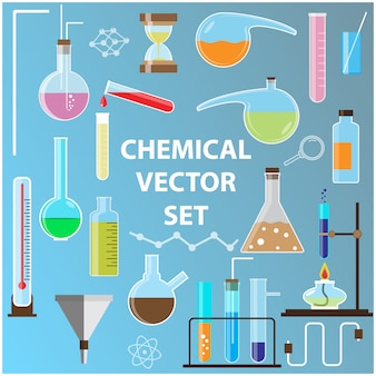 Set of laboratory flasks with chemistry vector objects