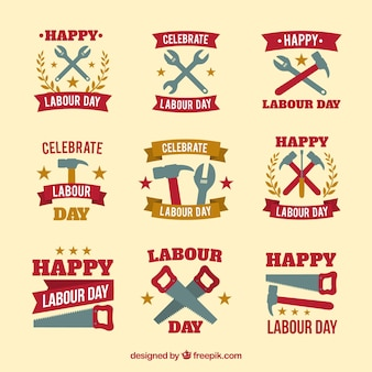 Set of labour day badges with tools in flat style