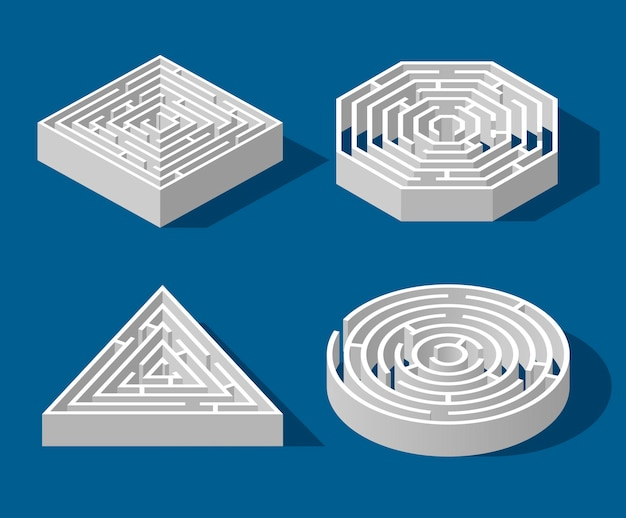 Установите изометрическую игру лабиринт и забавную головоломку лабиринт, изолированных на синем фоне. квадрат, треугольник, шестиугольник и круг. логическая игра-головоломка изометрическая концепция