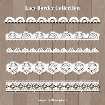 Set of lace borders in flat design