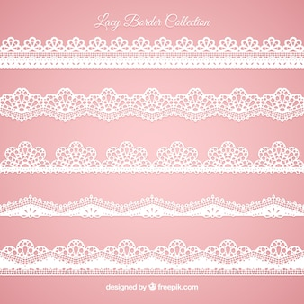 Set of lace edges in flat design
