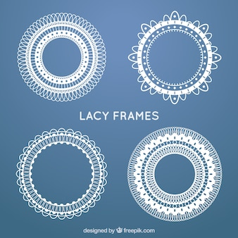 Set of lace round frames in vintage style