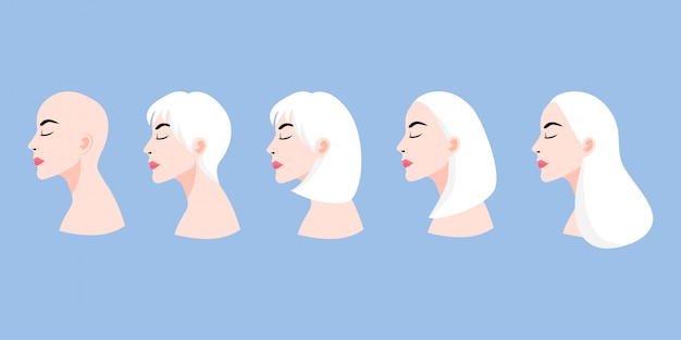 A set of lady's faces in profile with different hairstyles cartoon character