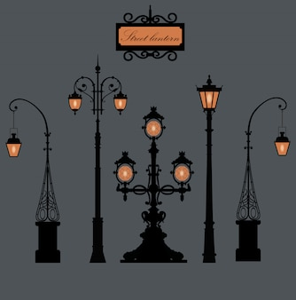 Set of lamp posts in saint petersburg.