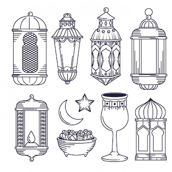 Set lamps decoration with chalice and moon with star
