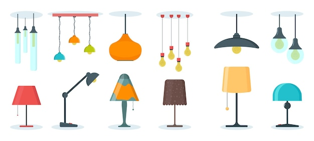 A set of lamps on a white background