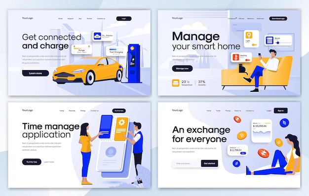 Set of landing page design templates in flat design style