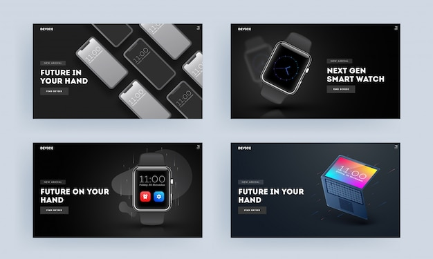 Set of landing page or hero shot with smart devices as smartphone, watch and laptop illustration.