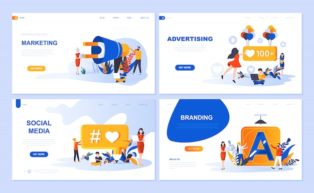 Set of landing page template for digital marketing, advertising, social media, branding