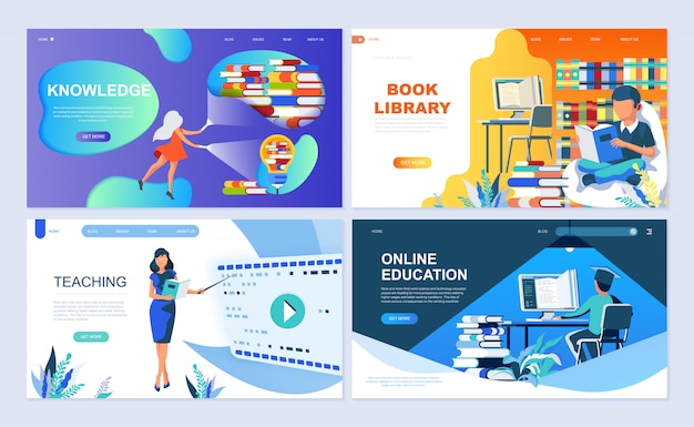 Set of landing page template for education
