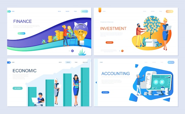 Set of landing page template for finance