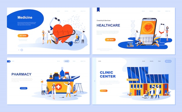 Set of landing page template for medicine, healthcare, pharmacy, clinic center