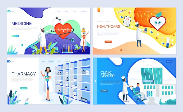 Set of landing page template for medicine