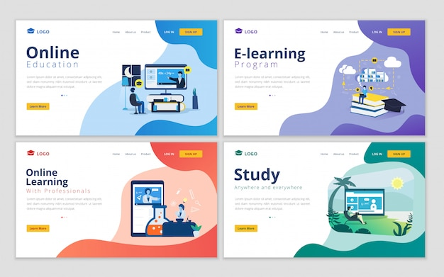 Set of landing page template for online education and e-learning