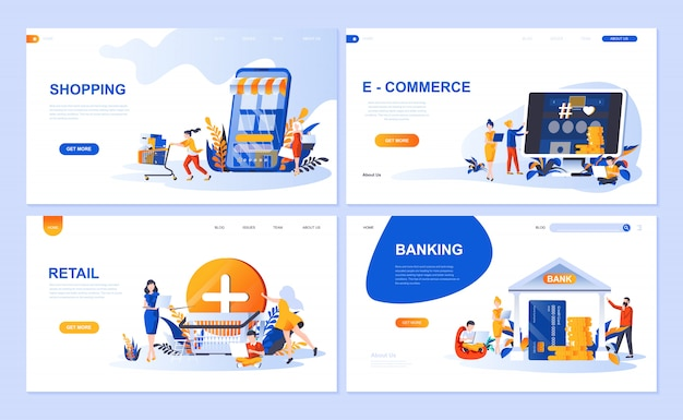 Set of landing page template for online shopping, e-commerce, retail, internet banking