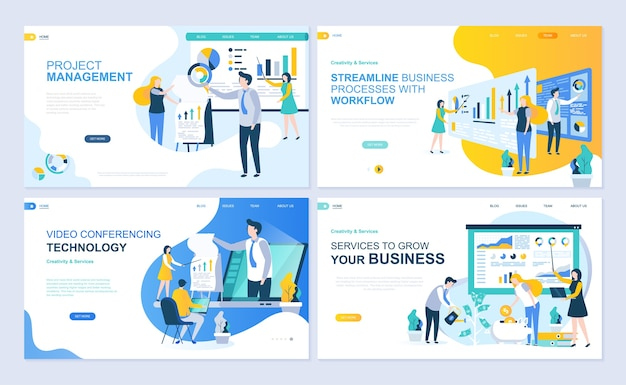 Set of landing page template for project management, business, workflow and consulting.