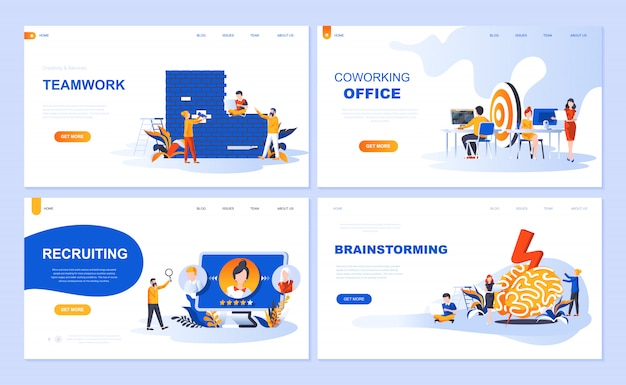 Set of landing page template for teamwork, recruiting, brainstorming, coworking office