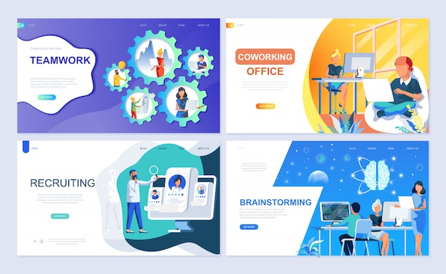 Set of landing page template for teamwork