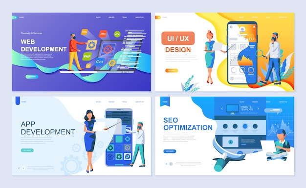 Set of landing page template for web and app development