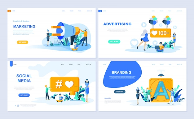 Set of landing page template
