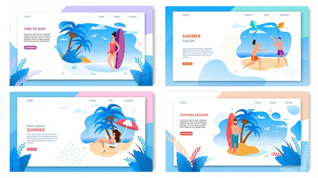 Set of landing page web template for active summer tropic vacation